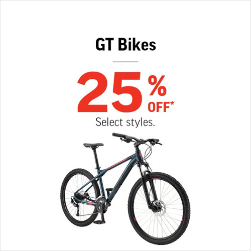 GT Bikes 25% Off* Select Brands & Styles.