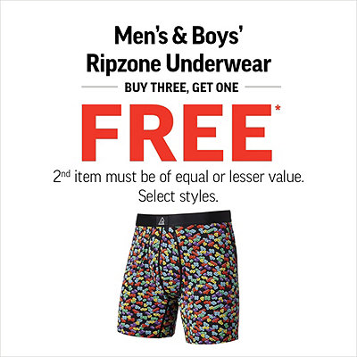 Men's & Boys' Ripzone Underwear Buy Three, Get One Free*