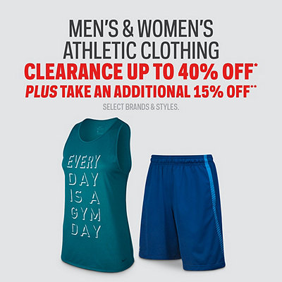 Men's & Women's Athletic Clothing Clearance up to 40% Off