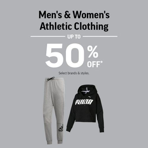 Men's & Women's Athletic Clothing Up to 50% Off* Select Brands & Styles.