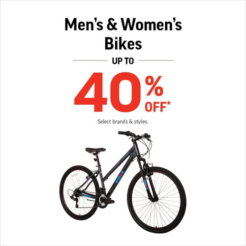 Men's & Women's bikes Up to 40% Off* Select Brands & Styles.