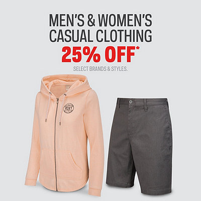 Men's & Women's Casual Clothing 25% Off*