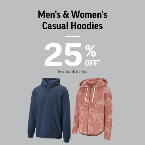 Men's & Women's Casual Hoodies 25% Off* Select Brands & Styles.