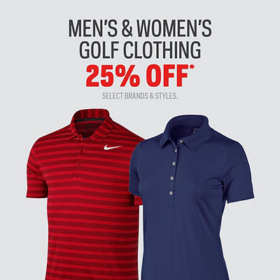 Men's and Women's Golf Clothing 25% Off