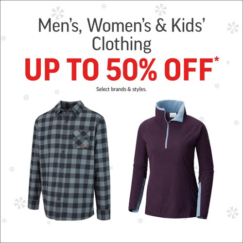Men's, Women's & Kids' Clothing Up to 50% Off* Select Brands & Styles