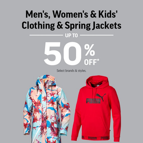 Men's, Women's & Kids' Clothing & Spring Jackets Up to 50% Off. Select Brands & Styles.