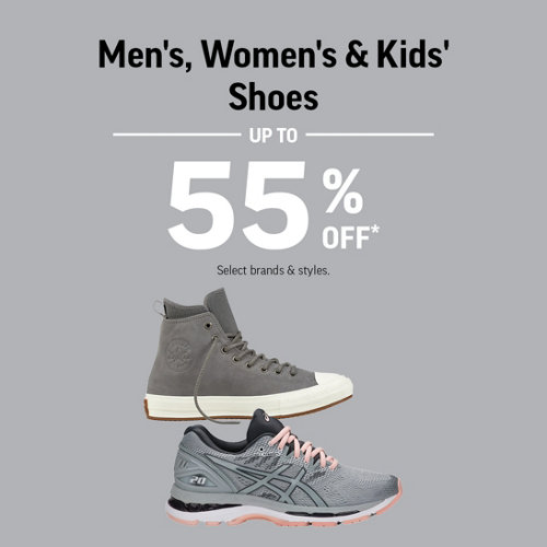 Men's, Women's & Kids' Shoes Up to 55% Off* Select Brands & Styles.