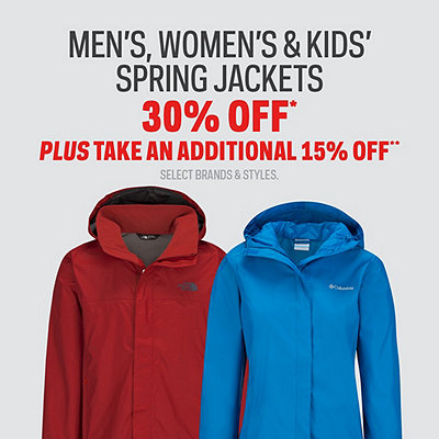 Men's, Women's & Kids' Spring Jackets 30% Off Plus An Additional 15% Off*