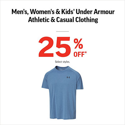 439317ecb43 Men's, Women's & Kids' Under Armour Clothing 25% Off*
