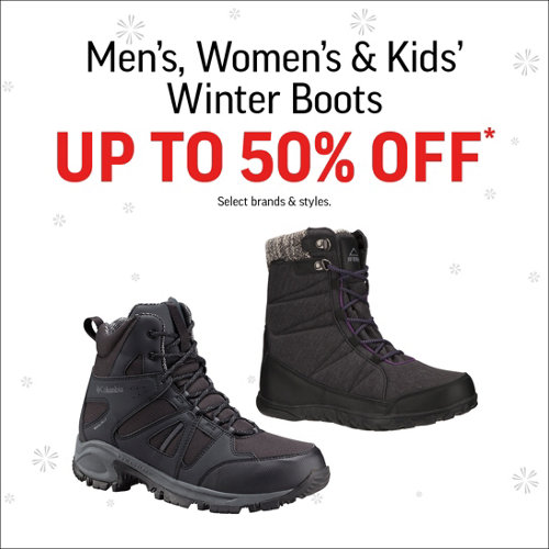 Men's, Women's & Kids' Winter Boots Up to 50% Off* Select Brands & Styles.