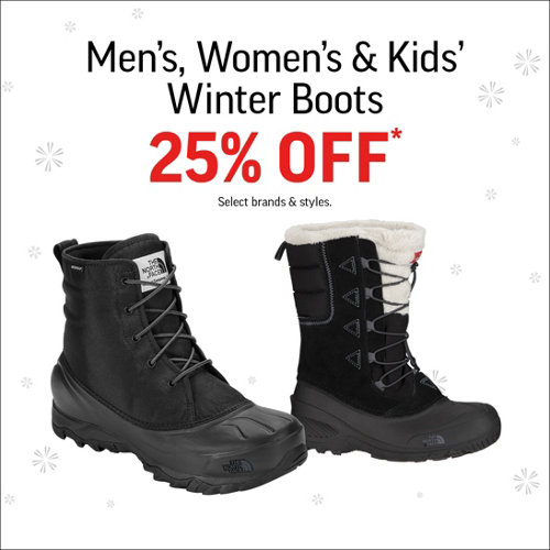 Men's, Women's & Kids' Winter Boots 25% Off* Select Brands & Styles.