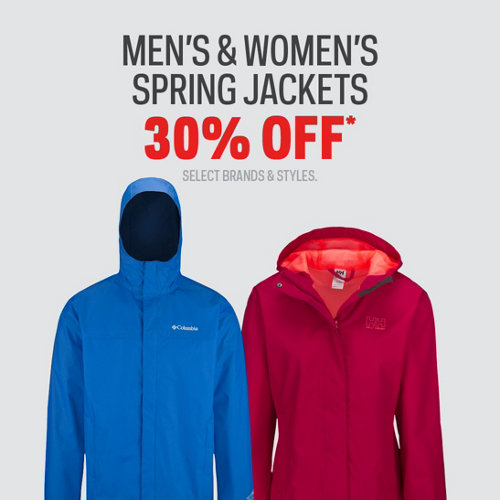 Men's, Women's & Kids' Select Spring Jackets 30% Off