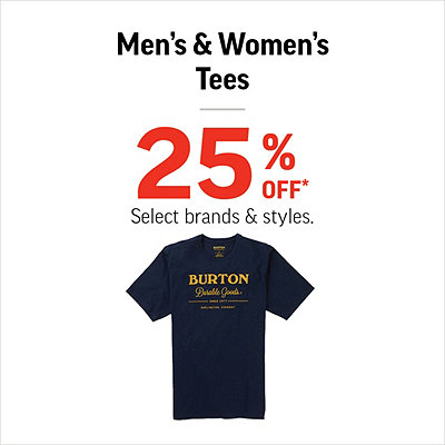 Men's & Women's Tees 25% Off*