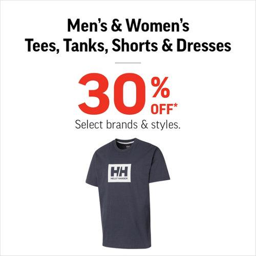 f898b125 Men's & Women's Tees, Tanks, Shorts & Dresses 30% Off* Select Brands