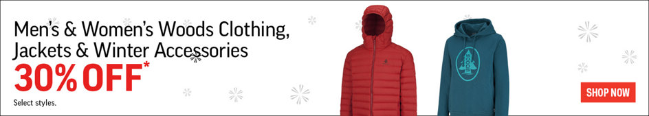 Men's & Women's Woods Clothing, Jackets & Winter Accessories 30% Off* Select Styles. Shop Now.