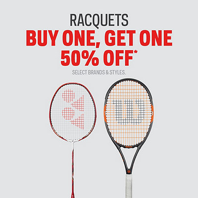 Racquets Buy One, Get One 50% Off