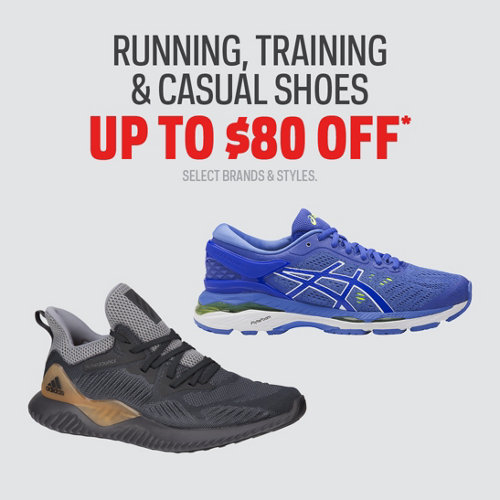 Running, Training & Casual Shoes Up to $80 Off* Select Brands & Styles.