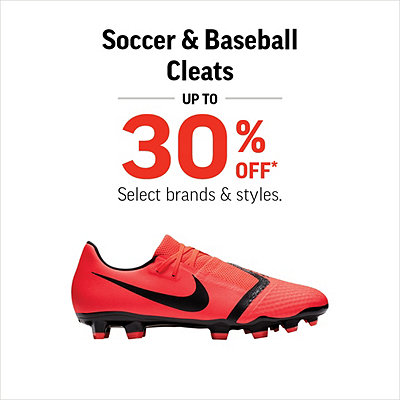Select Men's, Women's & Kids' Soccer & Baseball Cleats Up to 30% Off*