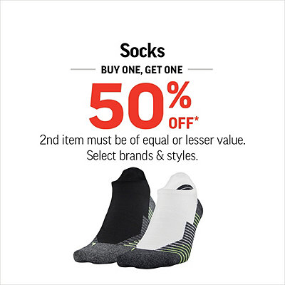 Men's, Women's & Kids' Socks Buy One, Get One 50% Off*
