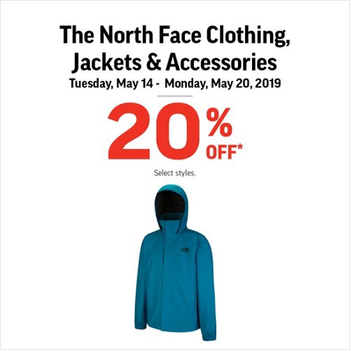 The North Face Clothing, Jackets & Accessories 20% Off* Select Styles.
