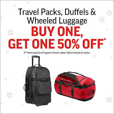 Select Travel Packs, Duffels & Wheeled Luggage Buy One, Get One 50% Off*