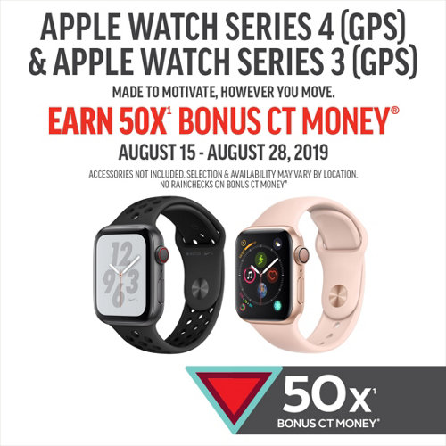 Apple Watch Series 4 (GPS) & Series 3 (GPS). Made to motivate, however you move. Earn 50X(1) Bonus CT Money* August 15-28, 2019. Selection and availability may vary by location. Accessories not included.