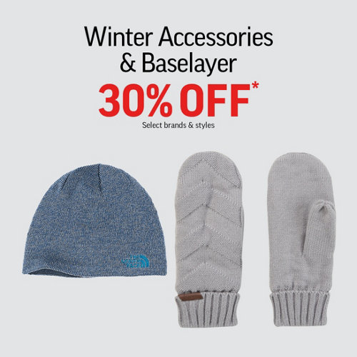 Winter Accessories & Baselayer 30% Off* Select Brands & Styles