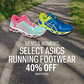 Men's & Women's Select ASICS Running Footwear 40% Off