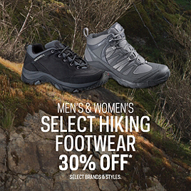 Select Men's & Women's Hiking Footwear 30% Off