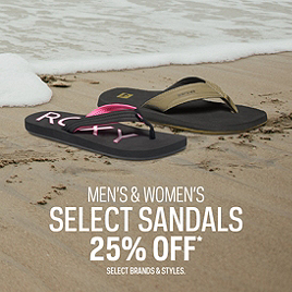Men's & Women's Select Sandals 25% Off