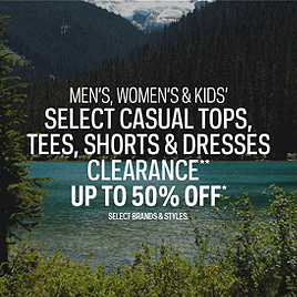 Tops, Tees, Shorts & Dresses Clearance up to 50% Off