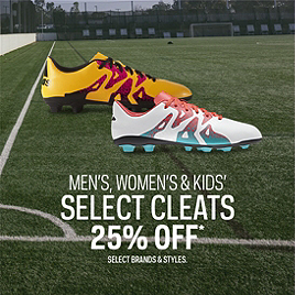Select Men's, Women's & Kid's Select Cleats 25% Off