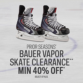 Prior Seasons' Bauer Vapor Skate Clearance Min 40% Off*
