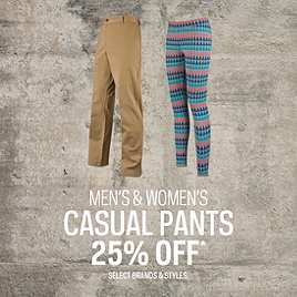 Select Casual Pants 25% Off