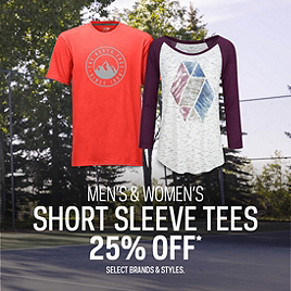 Select Short Sleeve Tees 25% Off