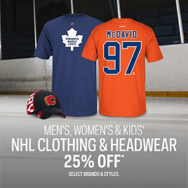 NHL Clothing & Headwear 25% Off