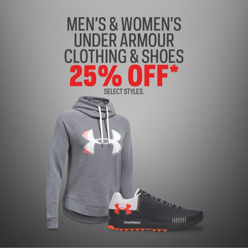 Under Armour Men's, Women's & Kids' Select Clothing & Shoes 25% Off