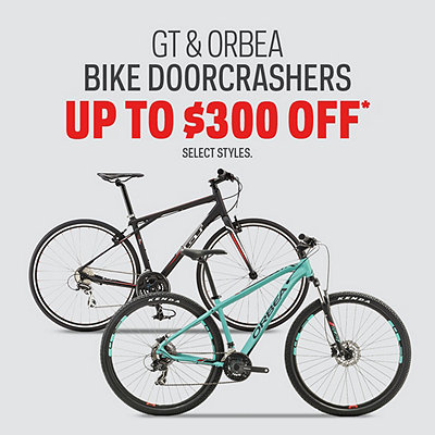 GT & Orbea Bike Doorcrashers up to $300 Off* & More Great Deals