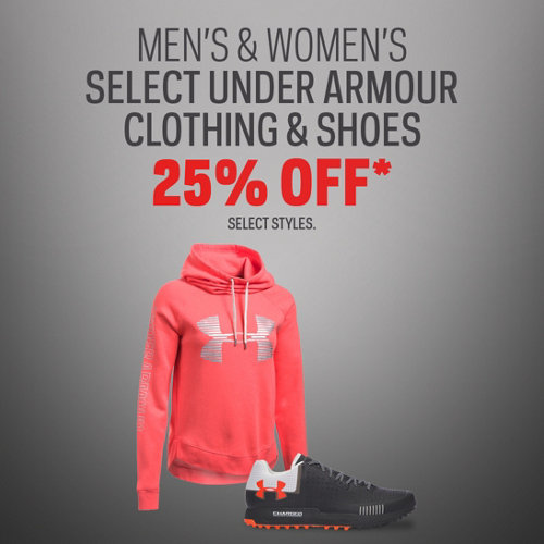 Under Amour Clothing & Shoes 25% Off