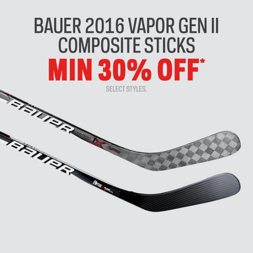 Bauer 2016 Vapor Gen II Composite Sticks Min 30% Off