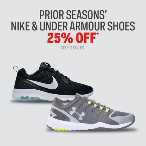 Prior Seasons' Nike & Under Armour Shoes 25%