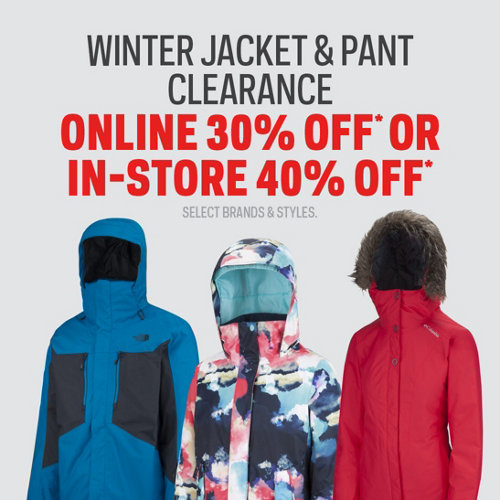 Winter Jacket & Pant Clearance 30% Off Online | 40% Off In-Store