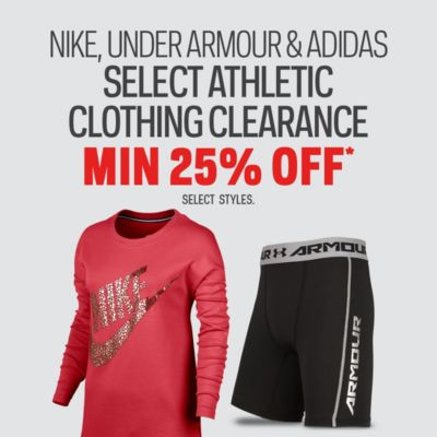 Select Under Armour, Nike & Adidas Athletic Clothing Clearance Min. 25% Off*