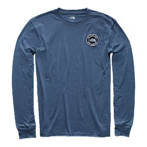 72cc6810 The North Face Men's Graphic Patch Long Sleeve T Shirt - Shady Blue