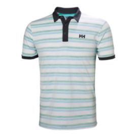 Helly Hansen Men's Fjord Polo - Pepper Green Faded Stripes