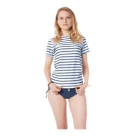 Level Six Women's Coastal Short Sleeve Rash Guard - Block Stripe Navy