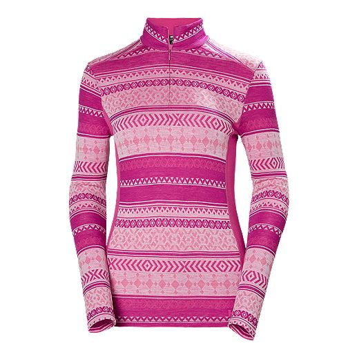 Helly Hansen Women's Merino Mid Graphic 1/2 Zip - Dragon Fruit
