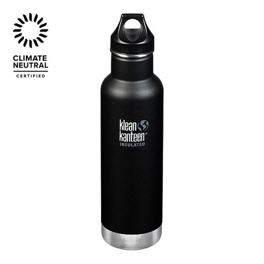 Klean Kanteen 20 oz Classic Water Bottle Loop Cap - Shale Black