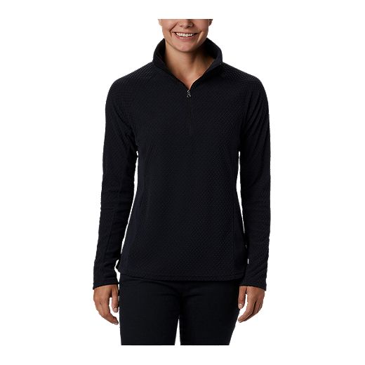 Columbia Women's Glacial Print Plus Size Half Zip Fleece Pullover - Black Quilt