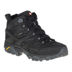 fe2115a182 Merrell Men's Moab 2 Mid Waterproof Smooth Leather Hiking Boots - Black